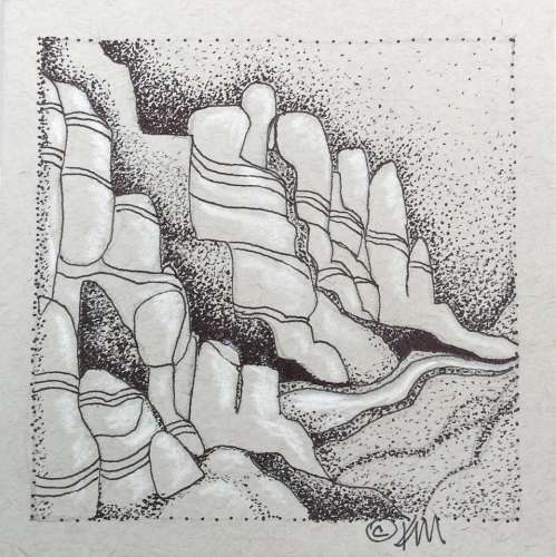 "GRAND CANYON #1, DRAWING, 4"" X 4"" (framed: 10"" X 10""), $$65.0000"