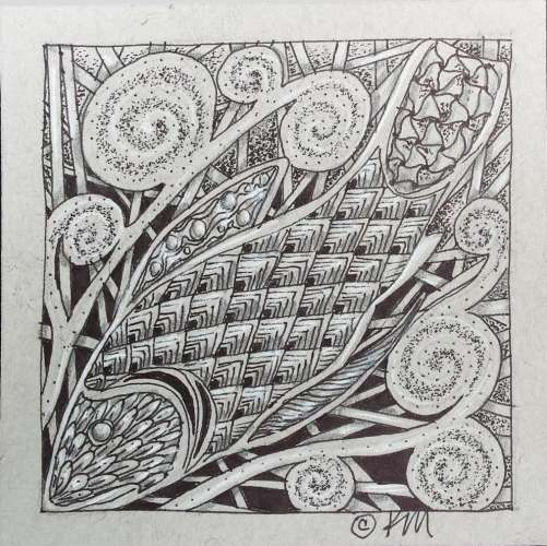 "Celtic Fish #1, DRAWING, 4"" x 4"", image size (framed: 10"" x 10""), $$65.0000"